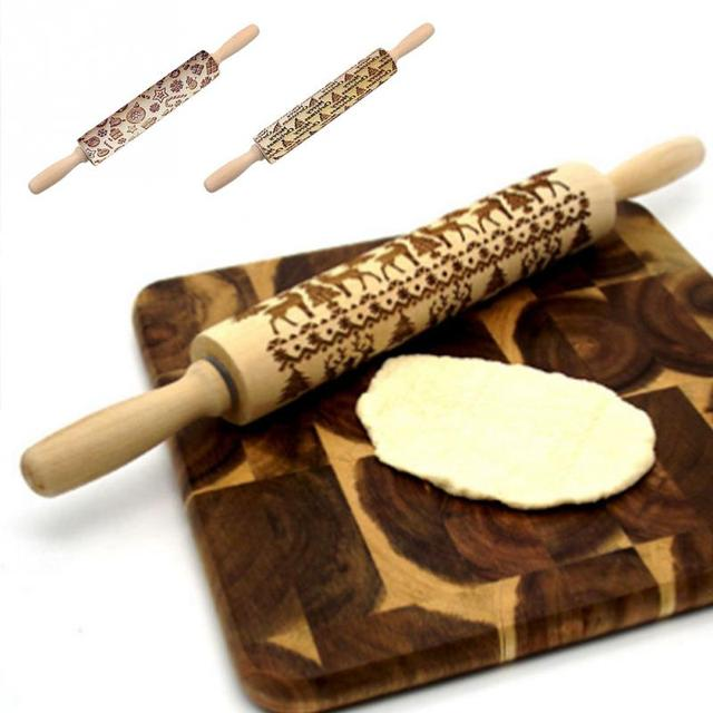 Lovinland Engraved Embossing Rolling Pin Dough Snowflake Wood Rolling pin with Christmas Pattern Pastry Tools Accessories Baking