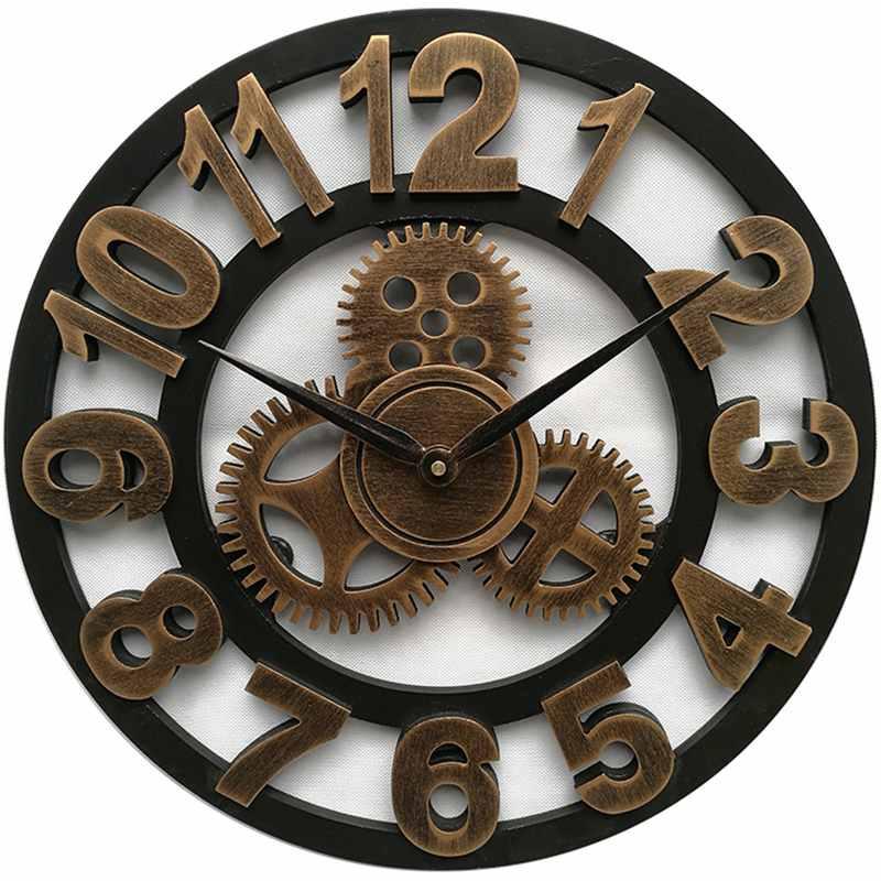 LUDA horloge 3D rétro rustique Vintage en bois 23 pouces silencieux engrenage horloge murale numéro antique or - 6