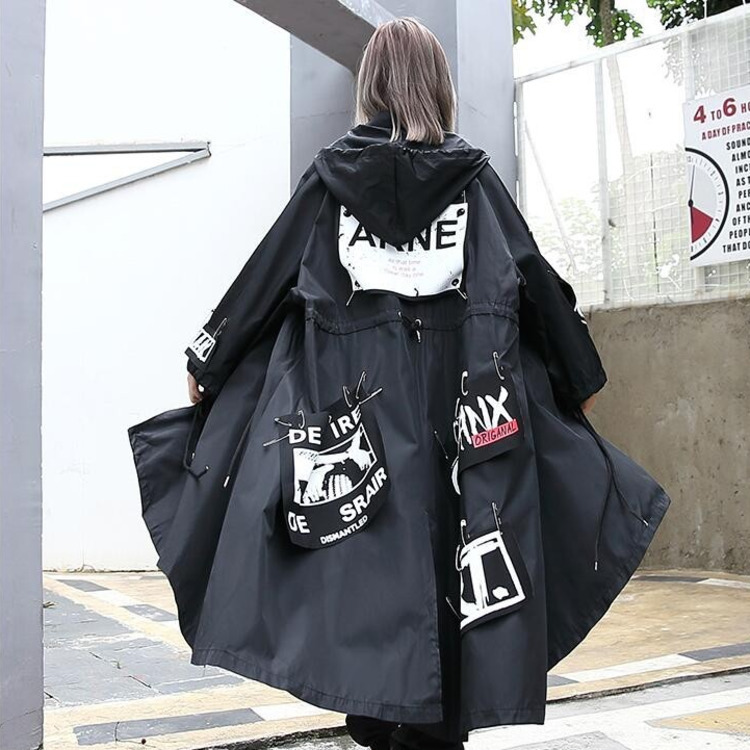 #0711 Black   Trench   Coat For Women Harajuku Oversize Overcoat Letter Printing Casual Hooded Coat Long Fashion Punk Windbreaker