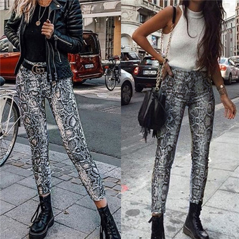 100% QualitäT Frauen Schlange Drucken Hohe Taille Bandage Hosen Elegante Push Up Stretch Leggings Mode Snakeskin Bodycon Hosen Streetwear Volumen Groß