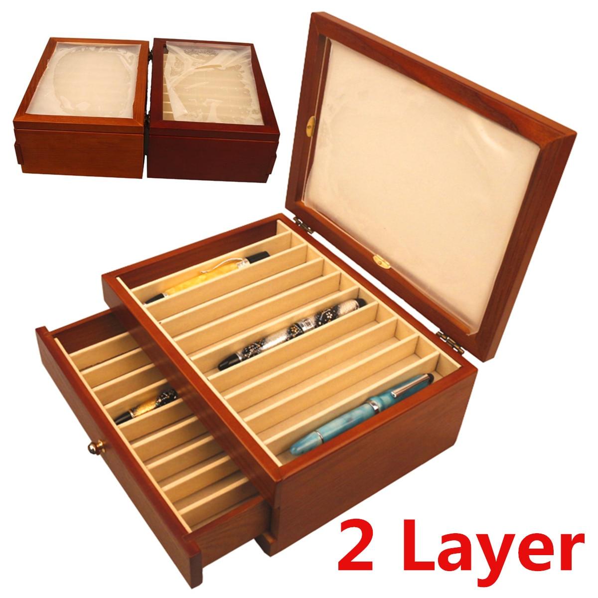 Деревянная подставка для ручек 2 слоя большой емкости деревянный ящик перьевая Ручка Пенал дисплей деревянный шкаф чехол 20 ручек Держатели