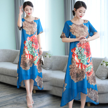 Summer Chiffon Dress Casual Floral Print Women Dress Round Neck Short Sleeve Printed Party Dresses Vestidos цена 2017