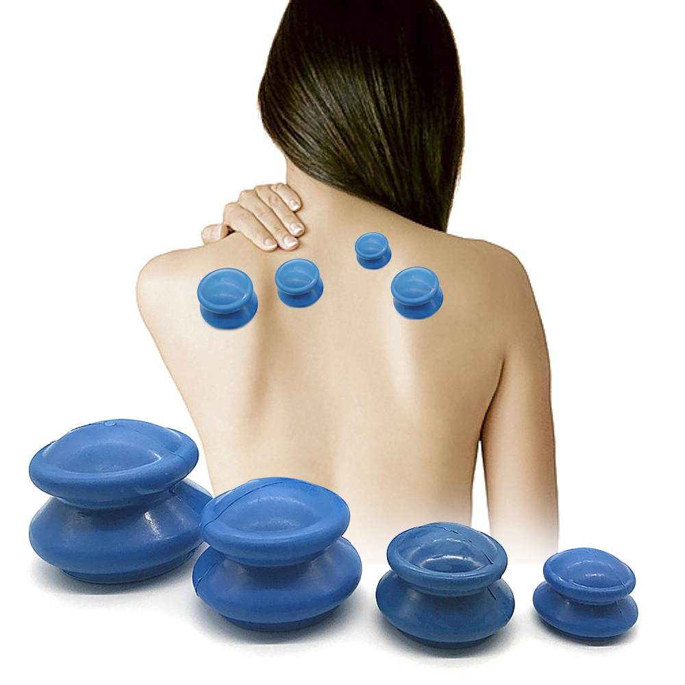 4PCS Body Vacuum Cans For Massage Facial Silicone Cups Anti Cellulite Moisture Absorber Face Massage Jars Cup