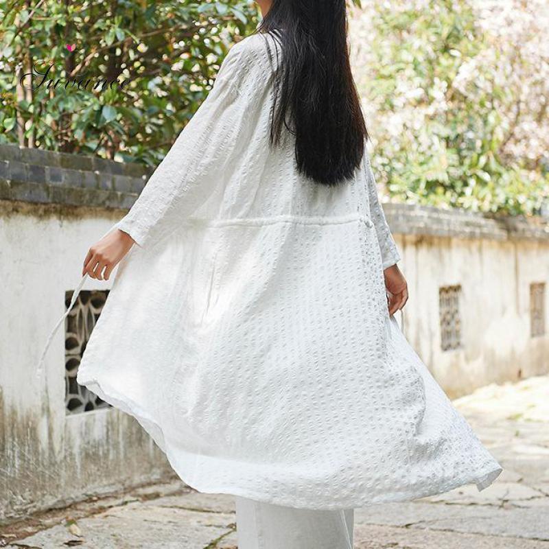 Suvance 2019 Spring Summer Vintage 2 Solid Color V Neck One Size Linen Women Long Coat Jl-Bxf2373
