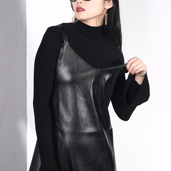 [EAM] 2019 New Spring Summer Spaghetti Strap Sleeveless Hem Vent Black Loose Pu Leather Dress Women Fashion Tide All-match JO2 1