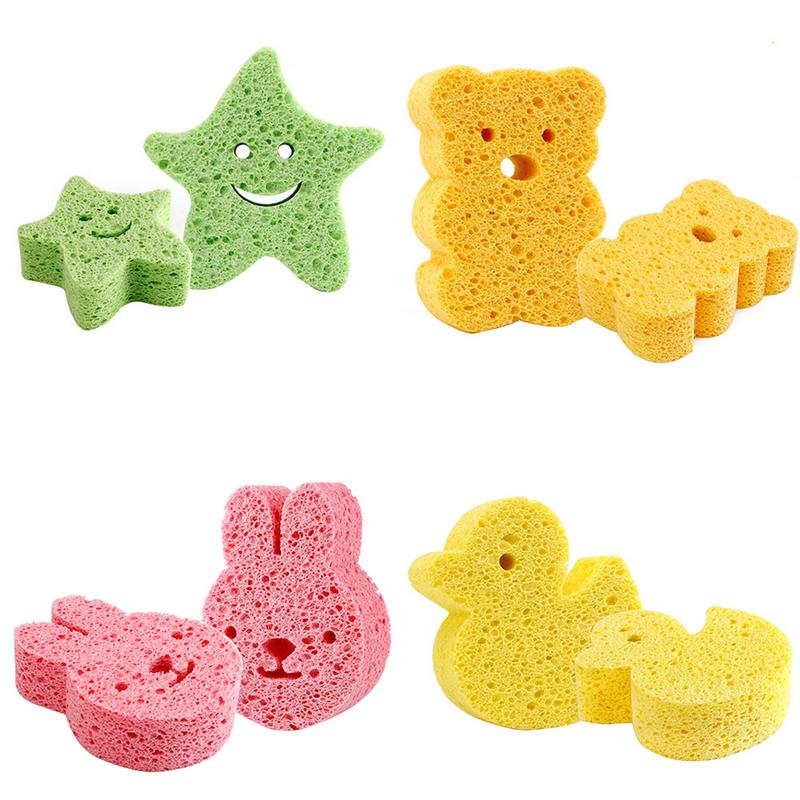 Baby Bath Sponge Brushes Infant Cartoon Take Shower Faucet Wash Bath Brushes Tool Kids Rubbing Body Sponge Accessories