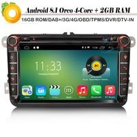 8 Android 8.1 Autoradio Sat Nav DAB+ DVD Radio GPS OBD Car Multimedia Player for VW Passat Golf Polo V 6R Scirocco Skoda Seat