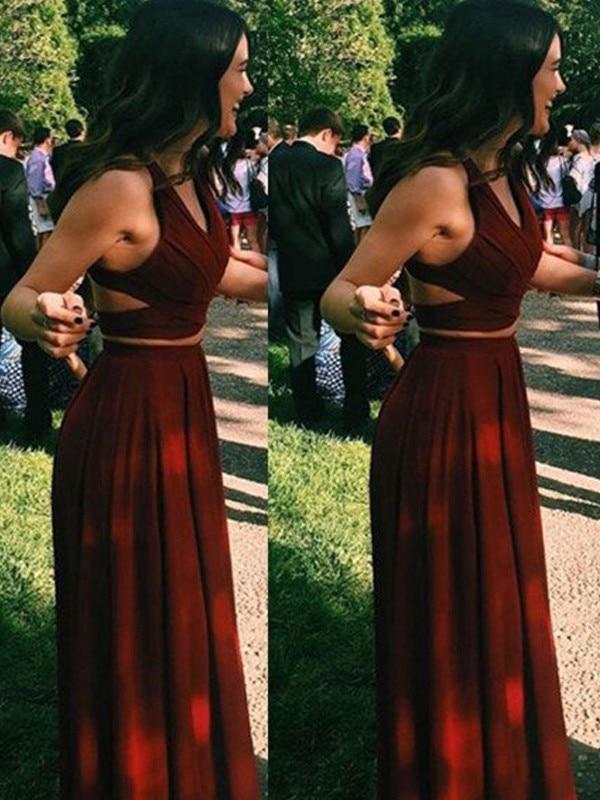 Burgundy Chiffon A-line Sleeveless Halter Neck Formal Gown Two Piece Prom Dress Crop