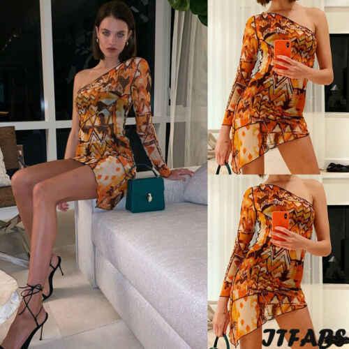 2019 New Women Sexy Evening Bodycon Single Shoulder  Formal Evening Party Club Wear Mini Dresses