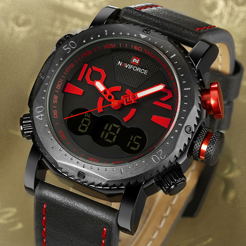 NAVIFORCE Top Brand Men's Fashion Digital Quartz Wrist Watch LED Sports Watches Waterproof Dual Display Clock Relogio Masculino