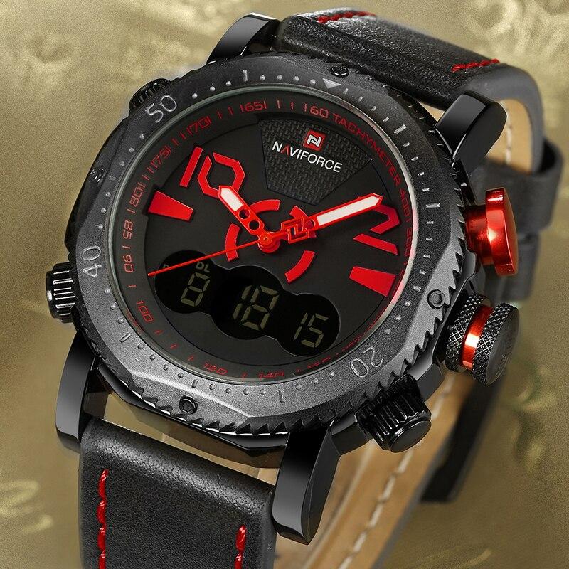 NAVIFORCE Top Brand Men's Fashion Digital Quartz Wrist Watch LED Sports Watches Waterproof Dual Display Clock Relogio Masculino