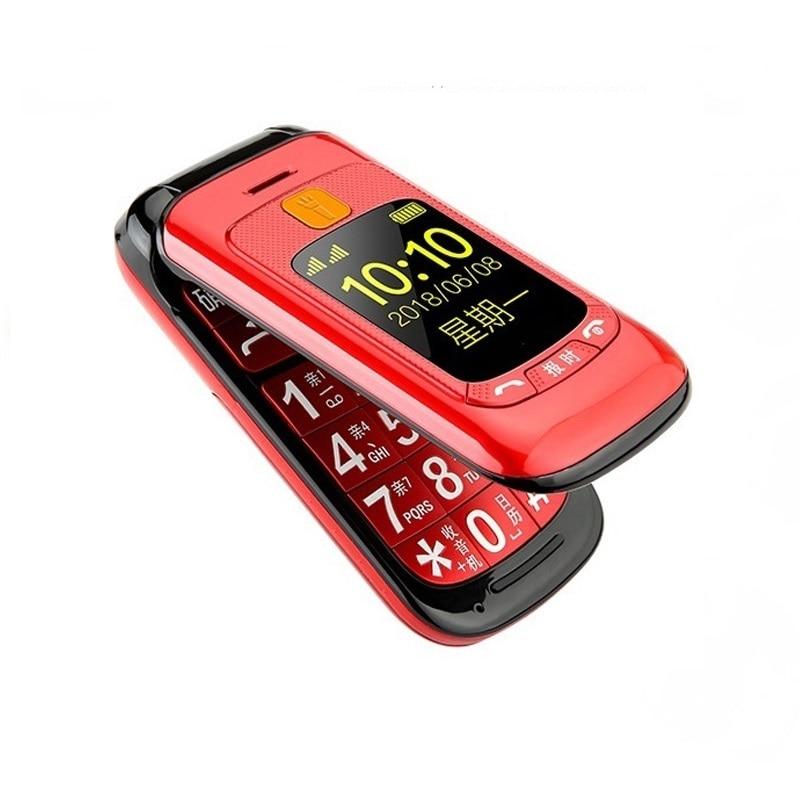 Flip Double Double écran Double SIM SOS clé vitesse cadran tactile écriture clavier russe FM téléphone portable Senior pour les personnes âgées