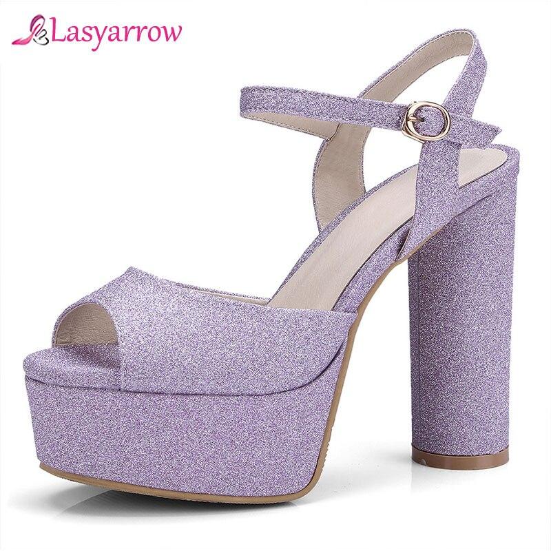 Lasyarrow 2019 Sexy or argent bout ouvert plate-forme dames chaussures d'été femme épais talons hauts bride à la cheville gladiateur sandales femmes