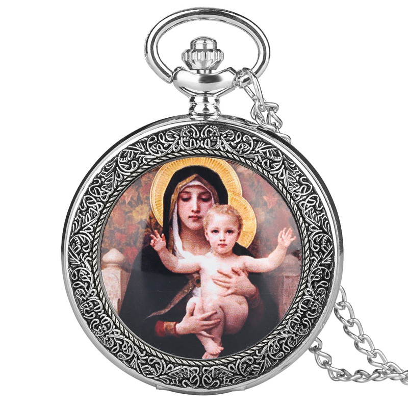 Quartz Pocket Watch Retro For Women Men Vogue Large Pocket Watches Virgin Mary And Jesus Pattern Gift For Pocket Watch
