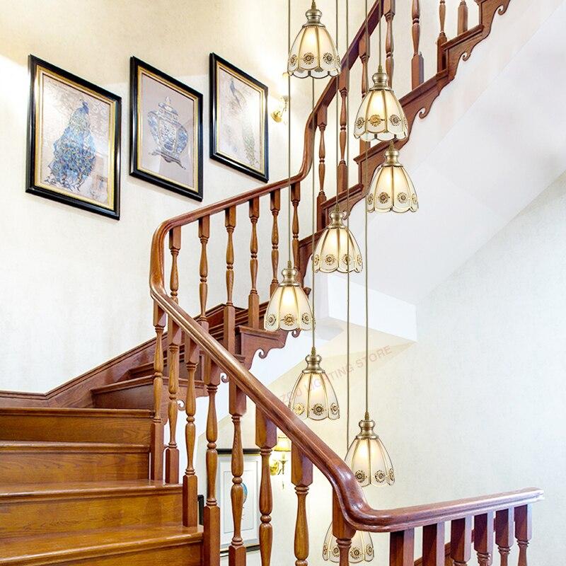 Европейский стиль медный светодиодный Люстра на лестницу вращающийся высокий подъем декоративное освещение