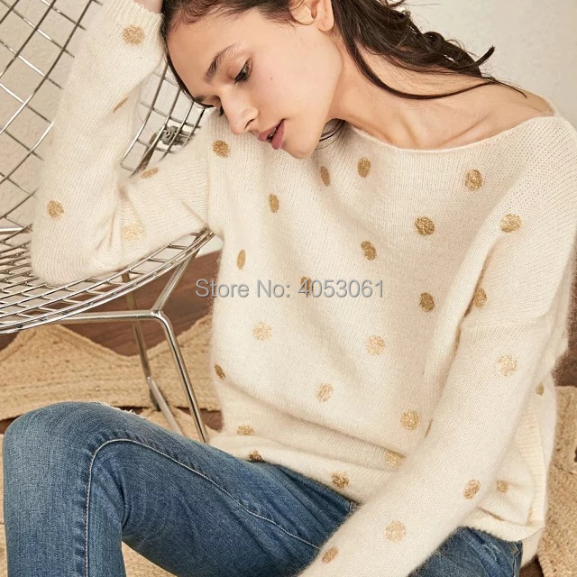 Or Mohair color Élégantes À Pic2 En Top Color color Metallicized Printemps Tricoté Tricot Pic3 Pic1 été Femmes Contraste 2019 As Manches Longues Pull Dot BBr7q