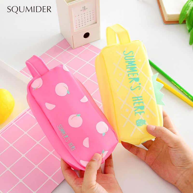 Large Bag Pencil Case For Student Girl  Cute School Stationery Supplies Gift Big Kawaii Silicone SUMMER Fruit Pen Box Zipper