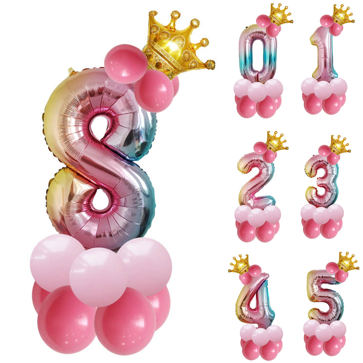 1pc Rose Gold Silver Aluminium Foil Number Balloons 0-9 Birthday Wedding Engagement Party Decor Globo Kids Ball Supplies