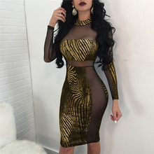 Sexy Women Summer Patchwork Golden Dress Long Sleeve Mesh See Through Back Evening Party Club Wear