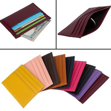 Genuine Leather Candy Color Credit Card Cover Multi Slot Slim ID Card Holder Simple ID Holders Brown Thin Small Card Holders 2018 new fashion unisex credit card holders genuine leather multi pvc card slots metal hasp business card id holders cow leather