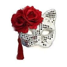 69dfdca55 Luxury Venetian Masquerade Mask Women Girls Sexy Red Roses Tassel Cat Eye  Mask for Fancy Dress Christmas Halloween Party Masks