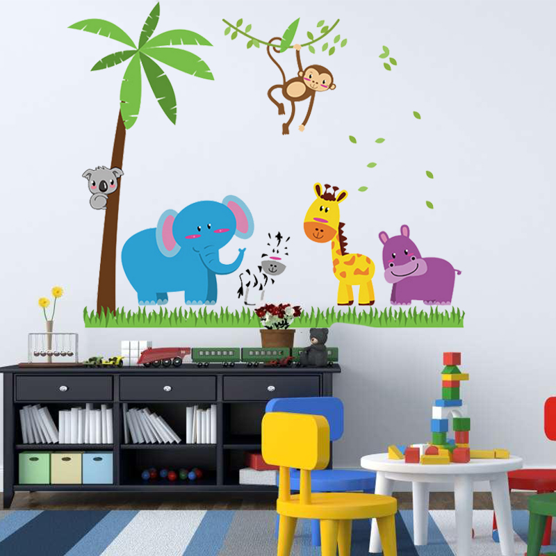 SK9039 DIY Removable Wall Stickers Cartoon Cute Animals For Kids Bedroom Mural Decal Home Decor