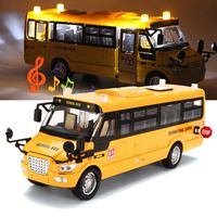 Yellow Sound Light Metal School Bus Model Toy Vehicles Pull Back Open Doors Simulation Car Toys Kids Children Christmas Gifts