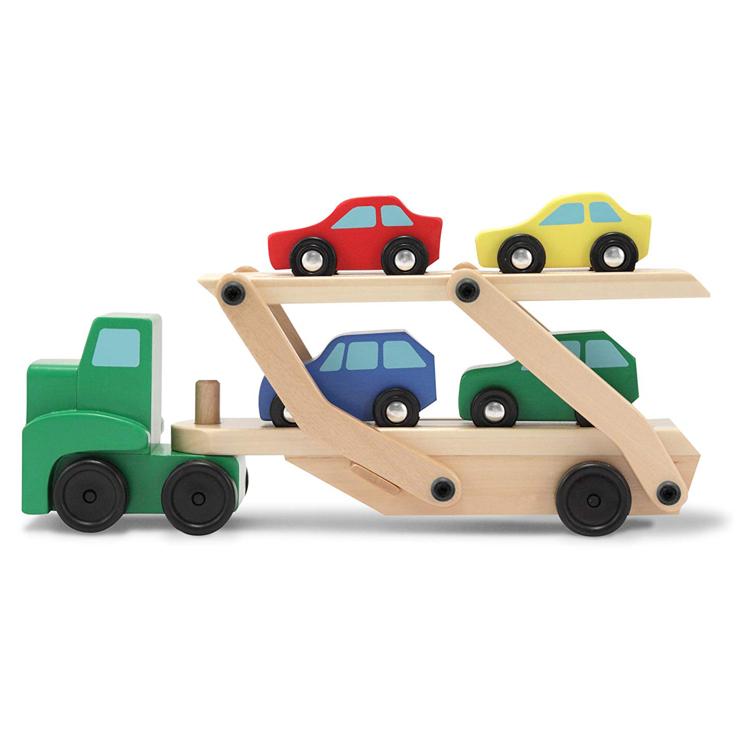Car Carrier Truck And Cars Wooden Toy Set With 1 Truck And 4 Cars