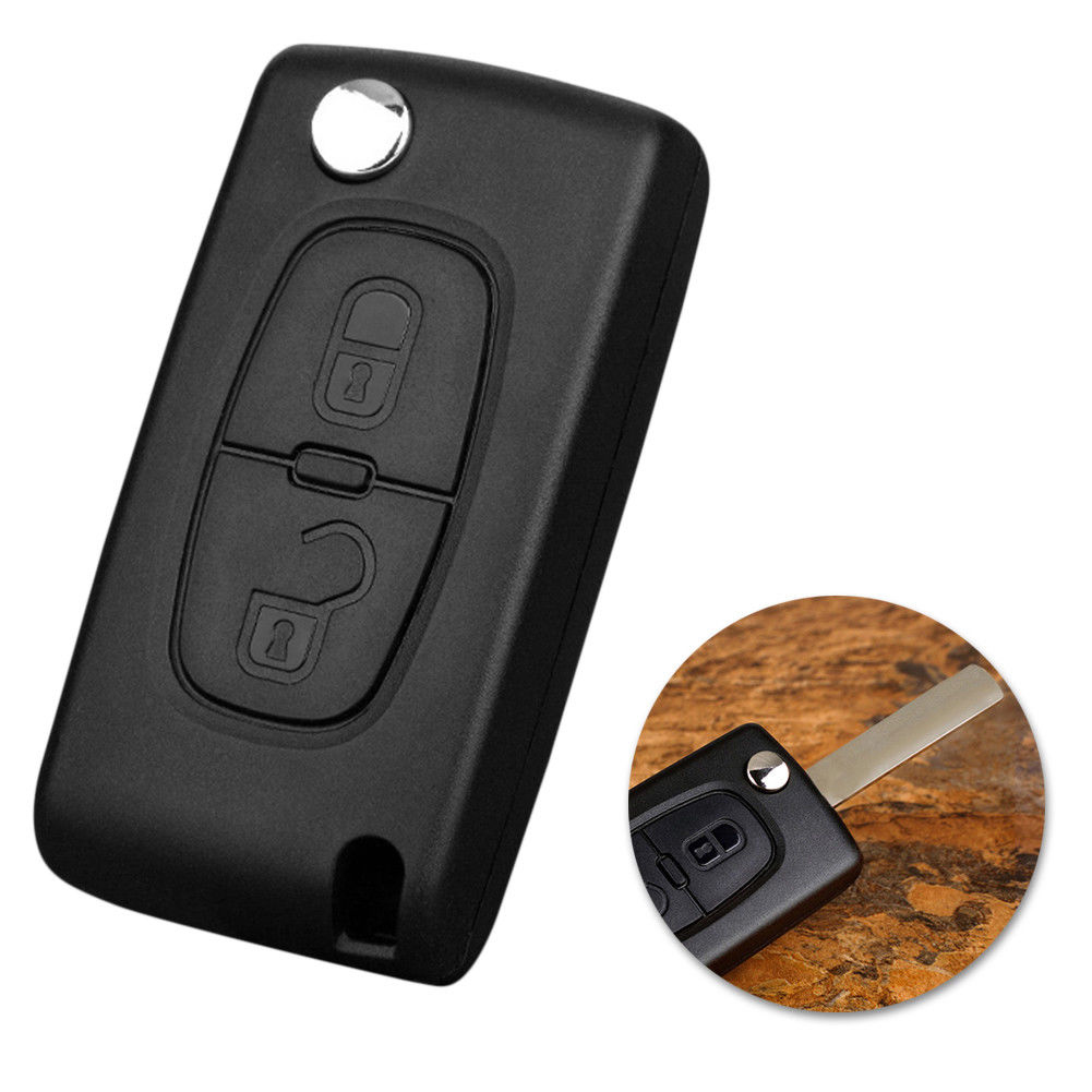 Peugeot 207 307 308 407 Foldable Key Fob Case Flip Replacement Accessories Cover Blade Remote Control 2 Button Car
