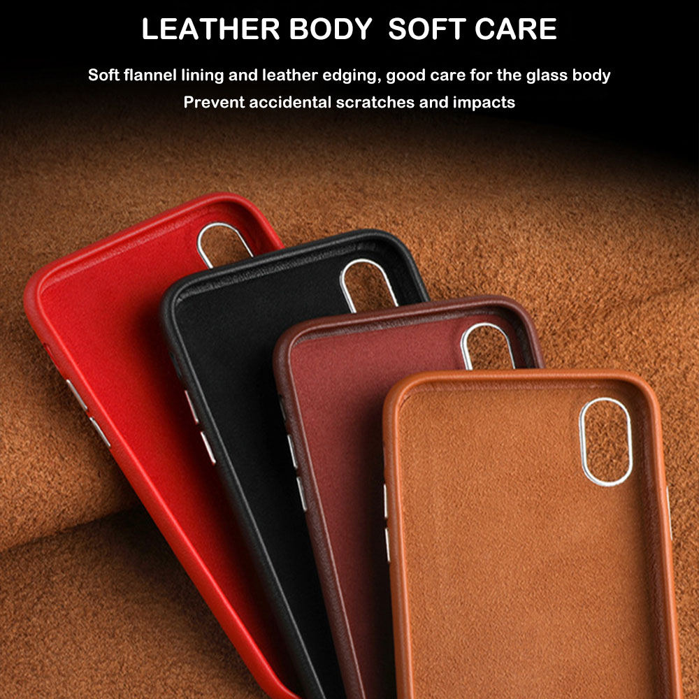 Image 2 - Luxury Phone Case for iPhone XS Max 7 X XR 8 6S Plus Cases Original Genuine Leather Hard Coque Cover Shockproof Protection Shell-in Half-wrapped Cases from Cellphones & Telecommunications
