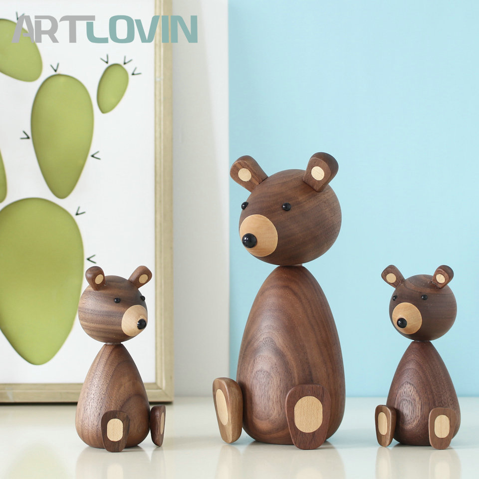 Denmark Wooden Brown Bear Family Gifts/Crafts/Toys Wood Squirrel Home Decorative Figurines High Quality Nordic Design Room Decor