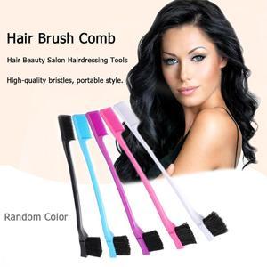 Image 5 - 1/3 stücke Doppelseitige Rand Pinsel Haar Kamm Haar Styling Friseur Salon Haar Kamm Pinsel Zufällige Farbe