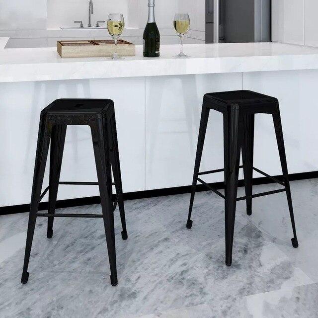 50 cm 2 piezas Taburetes de Bar cuadrado negro taburete alto café silla  sillas comedor estilo Simple la Decoración casa resto incorporada reposapiés