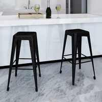 VidaXL 2 Pcs Bar Stools Square Black High Stool Coffee Chair Dining Chairs Simple Style Home Decor Rest Chair Built-In Footrest