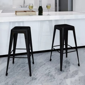 VidaXL 2 Pcs Bar Stools Square Black High Stool Coffee Chair Dining Chairs Simple Style Home Decor Rest Chair Built In Footrest Dining Chairs    -