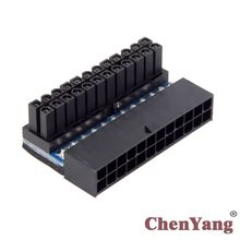CYSM 24pin Male 90 Degree to ATX 24Pin Female Power Adapter Mainboard Motherboard for Desktops PC Supply atx 24pin to motherboard 2 port 6pin adapter power supply cable cord for hp z220 z230 sff mainboard server workstation 30cm