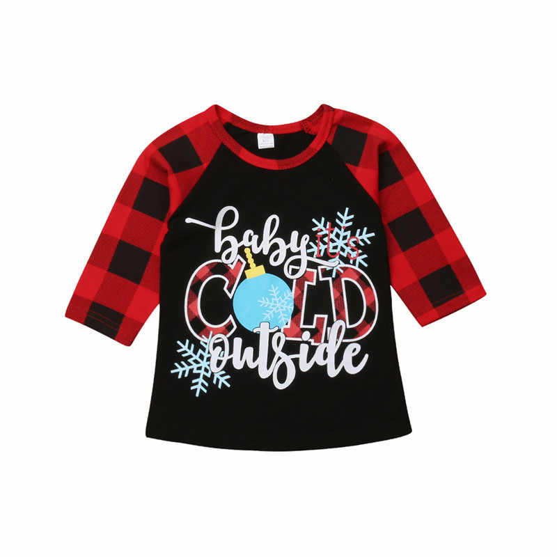 PUDCOCO Xmas Checked Children Boy Girl Kids Letter Tees Long Sleeve Tops T Shirt Plaid Cotton Casual Clothes 1-6Y