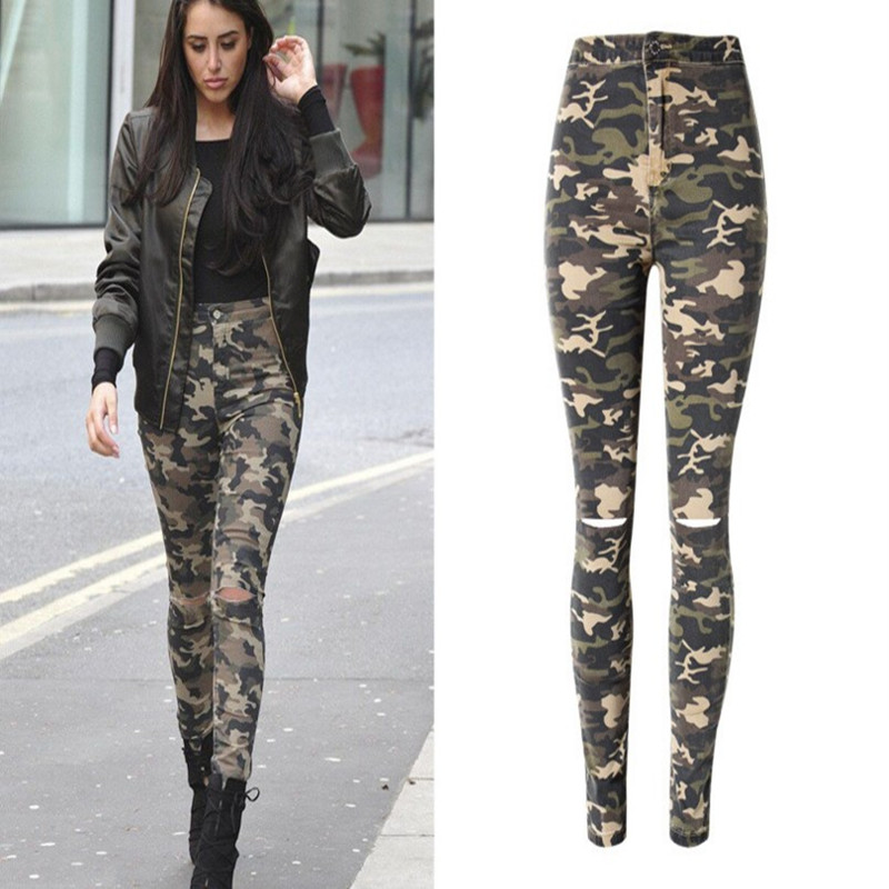 Fashion Camouflage Army Pencil Pants Capris Women High Waist Hole Jeans Denim Print Skinny Pants Sexy Jeans Casual Trousers