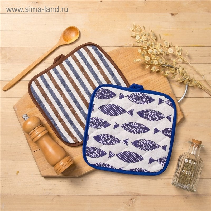 Set Доляна, potholder 2 pcs Fish/Strip Xing-корич, 100% PE, рогожка 200 C/M 3580639