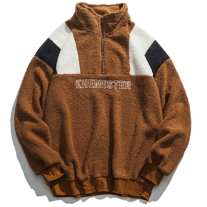 Sudaderas Sudadera Los Black De Con Bloque Streetwear 2019 Invierno Casual brown Fc39 Hombres Color Capucha Caliente qdwBtPwA