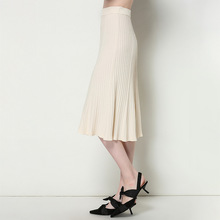 2019 spring new arrival knitted skirts pleated overknee length knitting European and American womens 1901