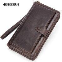 GENODERN Genuine Leather Men Wallets with Cell Phone Holder Luxury Men Clutch Wallet Long Purse Male Money Bag Big Wallet