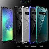 サムスンギャラクシーS10 プラスバンパーS10E電話ケースアルミニウム金属フレームバンパークリア強化用ガラス裏表紙s10Plus