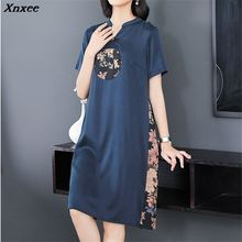 Xnxee Quality Fashion Women Dress Elegant Floral Print Summer Vestidos Vintage Temperament Short Sleeve V Neck Faux Silk Dress цена
