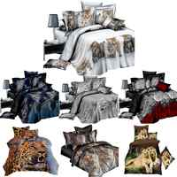 4PCs/Set Bed Sheet 3D Animal Prints Sanding Quilt Cover Set Including 1 Duvet Cover 1 Flat Sheet 2 Pillow cases