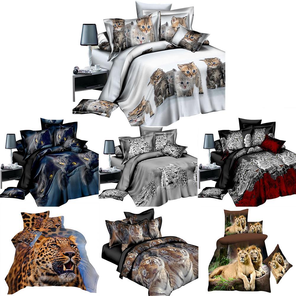 Bed Sheet 4PCs Set 3D Animal Prints Sanding Quilt Cover Set Including 1 Duvet Cover 1 Flat Sheet 2 Pillowcases