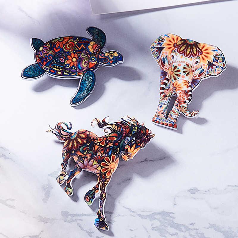Fashion Akrilik Hewan Gajah Kucing Bros Kuda Anjing Burung Bros untuk Wanita Pin Fashion Gaun Mantel Aksesoris