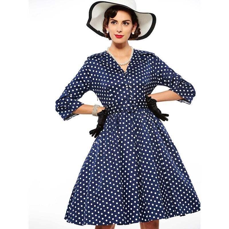 Printemps Style Ligne Dames Vintage Dot Une Bleu rouge Rouge Sport S Élégant Femmes Ceinture Hepburn Robe Stickers Porte 50 Polka Marque Bleu Partie De Douce 6wpfq