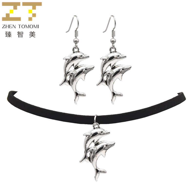 2018 Fashion Black Velvet Leather Bijoux Retro Animal Dolphin Choker Necklace/Drop Earrings For Women Jewelry Sets Trendy Party