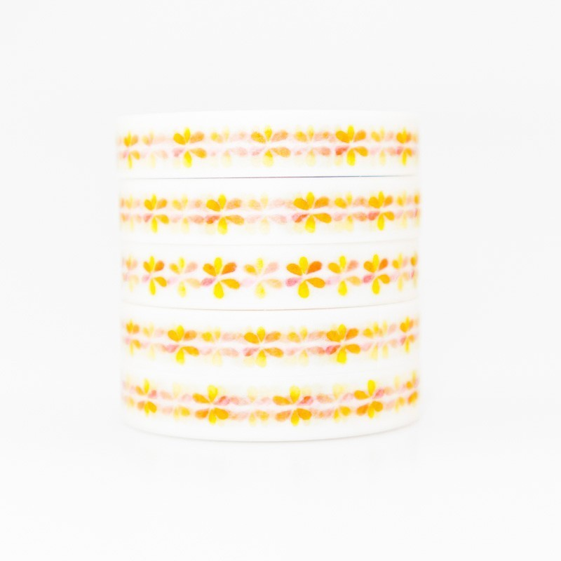 Yellow Flowers Pattern Washi Masking Tape Sticky Color Decorative Tape Set DIY Decoration Office Stationery Scrapbook 1PCS